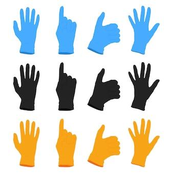 Медицинские резиновые перчатки в мультяшном наборе разных цветов, изолированные на белом фоне.