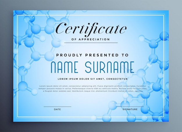 Medical science certificate with molecular structure