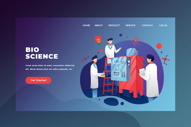 Medical and science web page header landing page