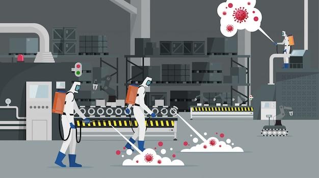 Медицинский ученый очищает и дезинфицирует клетки коронавируса covid-19 на фабрике. концепция эпидемического вируса. пандемический риск для здоровья.