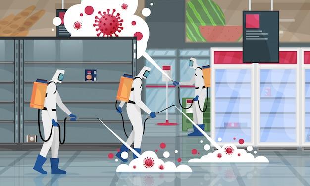 Медицинский ученый очистки и дезинфекции клеток коронавируса covid-19 в супермаркете. концепция эпидемического вируса. пандемический риск для здоровья.