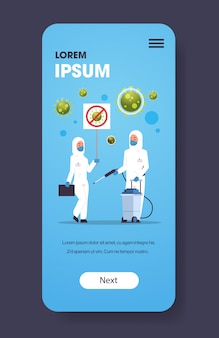 Medical scientists in hazmat suits holding stop coronavirus banner disinfecting epidemic  virus concept wuhan  pandemic health risk full length smartphone screen mobile app vertical