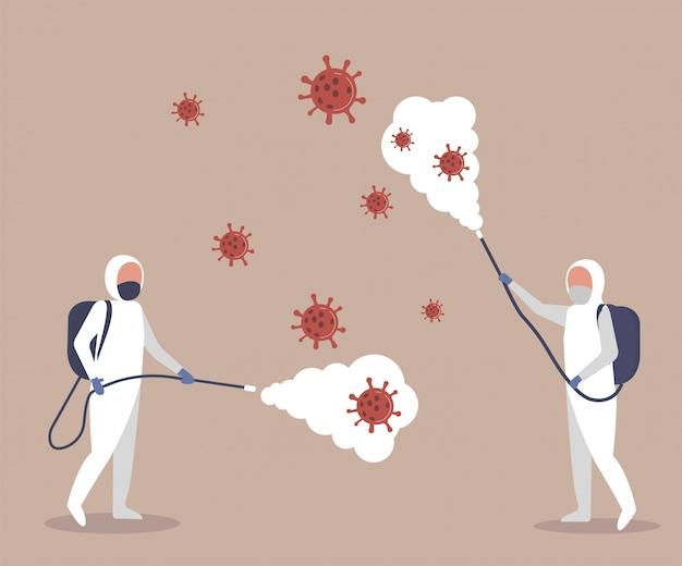 Ученые-медики в хазматах подходят для очистки и дезинфекции эпидемических клеток коронавируса. спрей для очистки и дезинфекции вируса covid-19, болезнь коронавируса, профилактические меры. illustrati