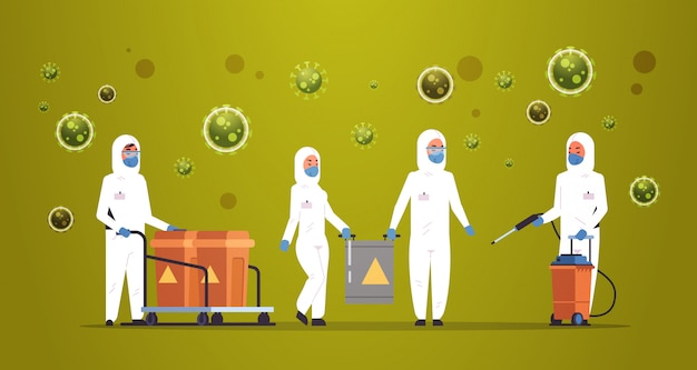 Hazmat 의료 과학자 청소 및 코로나 바이러스 세포 전염병 바이러스 개념 우한 전염병 건강 위험 전체 길이 가로 청소