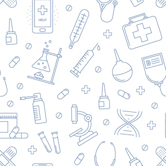 Medical seamless pattern hospital background with vector icons of health care equipment