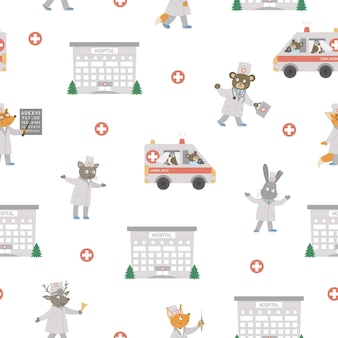 Medical seamless pattern with animals