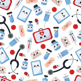 Medical seamless pattern with kawaii cartoon characters.