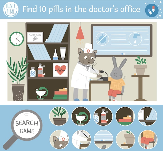 Медицинская поисковая игра для детей с таблетками, потерянными в больнице. милая забавная сцена. найдите спрятанные предметы. ищите таблетки в кабинете врача