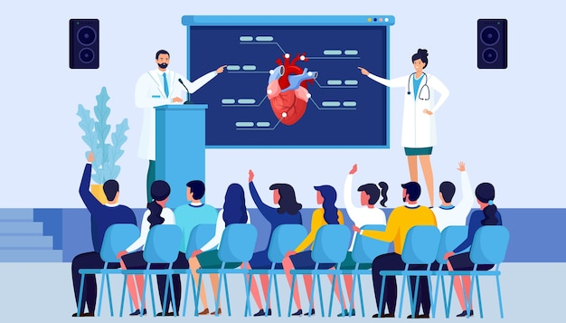 의료 세미나, 의사와의 회의. 의료진 워크샵을위한 회의실. 의사 연사 발표