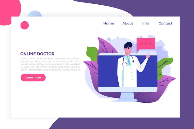 Medical service,  app page screen. doctor online concept.