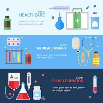 Горизонтальный набор баннеров медицинских услуг.