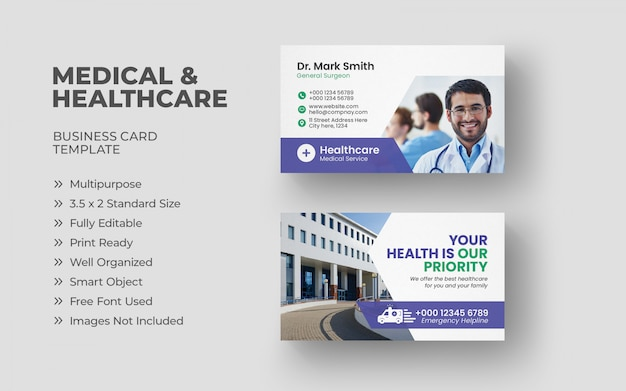 Medical service business card template