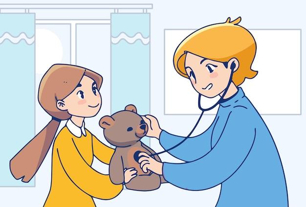 의료 서비스. 어린 소녀와 간호사 그림