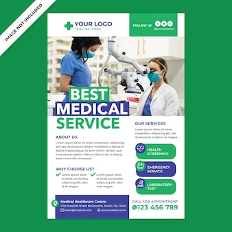 Medical service poster in flat design style
