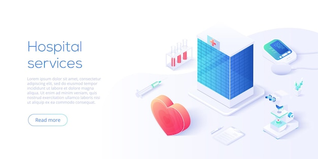 Medical services concept in isometric . hospital building with blood measuring or checking machine, heart and syringe as healthcare metaphor. health diagnostics background. web banner template.