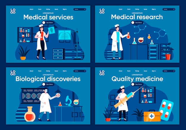 Medical services flat landing pages set. diagnosis and treatment in modern clinic scenes for website or cms web page. medical research, biological discoveries, quality medicine illustration.