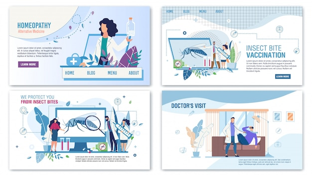 Medical services for help flat landing page set