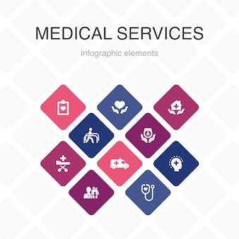 의료 서비스 인포 그래픽 10 옵션 색상 디자인. 응급, 예방 치료, 환자 운송, 산전 관리 간단한 아이콘