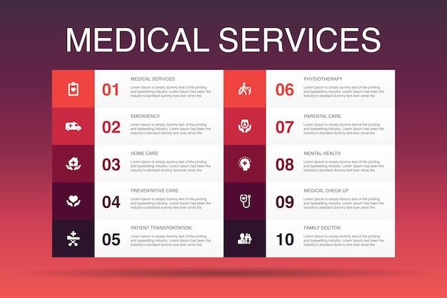 의료 서비스 인포 그래픽 10 옵션 템플릿. 응급, 예방 치료, 환자 운송, 산전 관리 간단한 아이콘