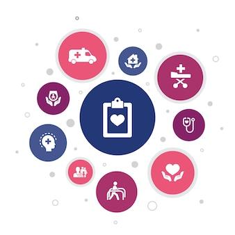의료 서비스 인포 그래픽 10 단계 거품 디자인. 응급, 예방 치료, 환자 운송, 산전 관리 간단한 아이콘