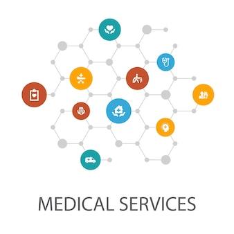 의료 서비스 프레젠테이션 템플릿, 표지 레이아웃 및 인포그래픽. 응급, 예방 치료, 환자 운송, 산전 관리 아이콘