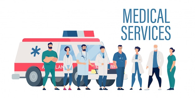 Medical services presentation with hospital staff