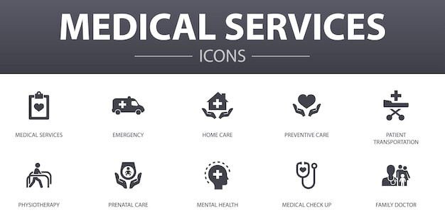 의료 서비스 간단한 개념 아이콘을 설정합니다. 웹, 로고, ui/ux에 사용할 수 있는 응급, 예방 치료, 환자 운송, 산전 관리 등과 같은 아이콘이 포함되어 있습니다.