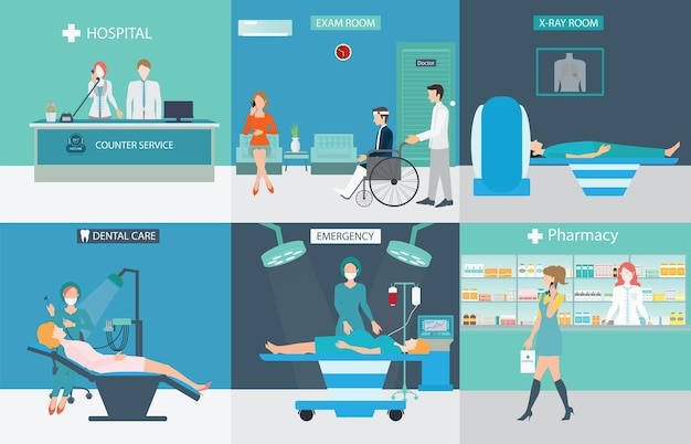 Medical services with doctors and patients in hospitals.