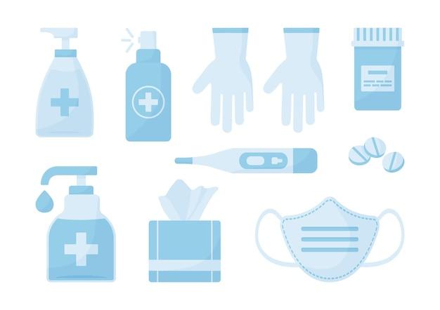 의료 세트. 소독제, 안면 마스크, 장갑, 항균 스프레이, 물티슈, 알약. 의료 그림