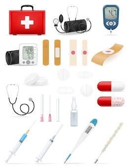 Medical set icons equipment tools and objects stock illustration isolated on white background