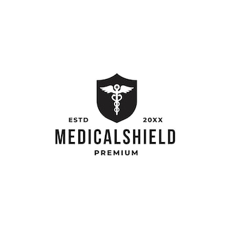 Medical shield logo concept with pharmacy and shield symbol