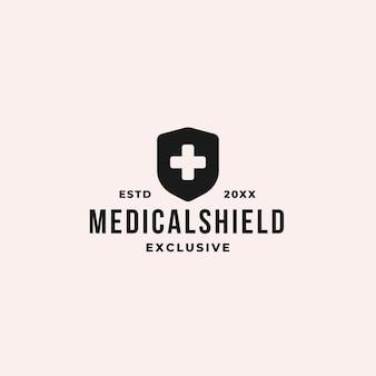 プラス記号と盾のシンボルと医療盾のロゴの概念
