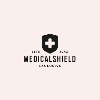 Medical shield logo concept with plus sign and shield symbol