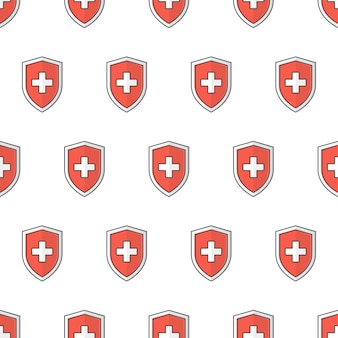 Medical shield protection seamless pattern on a white background. immune system theme vector illustration