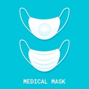 파란색 배경에 의료 차폐 붕대입니다. 입과 코를 덮는 수술용 마스크. 보호 개념입니다. 벡터 일러스트 레이 션