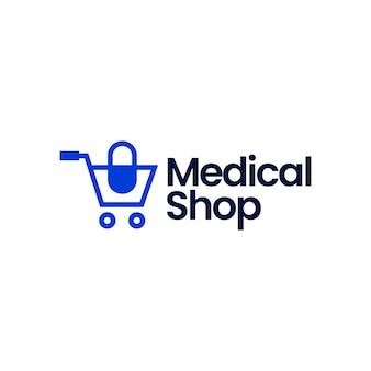 Medical shop store trolley capsule logo icon illustration