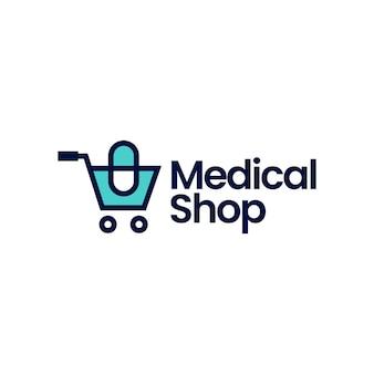 Medical shop store trolley capsule logo vector icon illustration