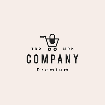 Medical shop store trolley capsule pharmacy hipster vintage logo vector icon illustration Premium Vector