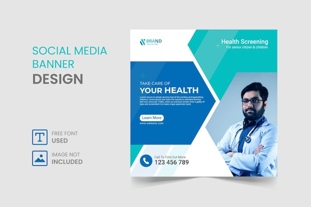 Medical social media post and banner design template