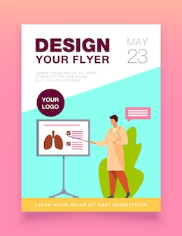 Medical specialist giving information about lungs flyer template
