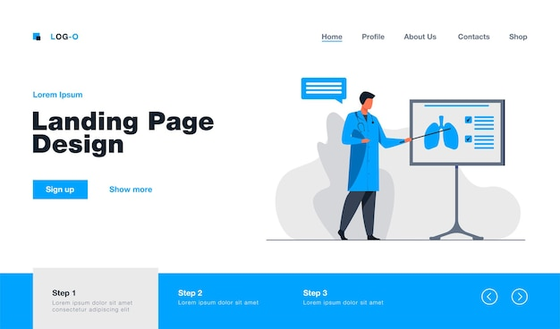 Medical specialist giving information about lungs landing page in flat style