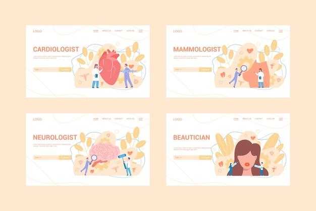 Набор медицинских специальностей веб-баннер концепции. кардиолог, невролог, косметолог и маммолог. диагностика и лечение заболеваний.