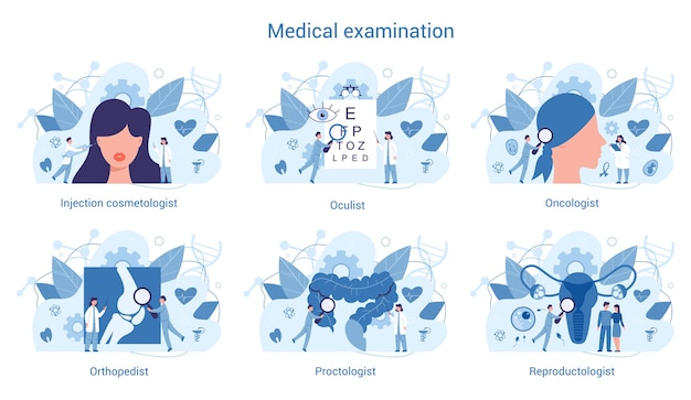 의료 전문 및 검사 세트. 치료사 및 비뇨기과 의사,