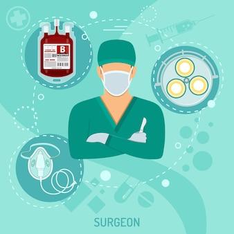 평면 아이콘 메스, 수술실 조명 및 혈액 용기를 가진 의료 사각형 배너 의사 외과 의사. 벡터 일러스트 레이 션