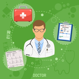 Medical square banner doctor with flat icons cardiogram, patient medical record and first aid kit. vector illustration