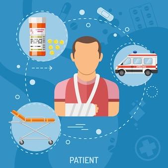Медицинский квадратный баннер пациента с плоскими значками скорой помощи, носилками, таблетками и переломом. векторная иллюстрация