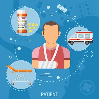 Medical square banner patient with flat icons ambulance, stretcher, pills and fracture. vector illustration