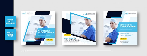 Medical square banner template