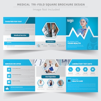 Medical square trifold brochure template