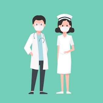 Medical staff, doctor and nurse, illustration.